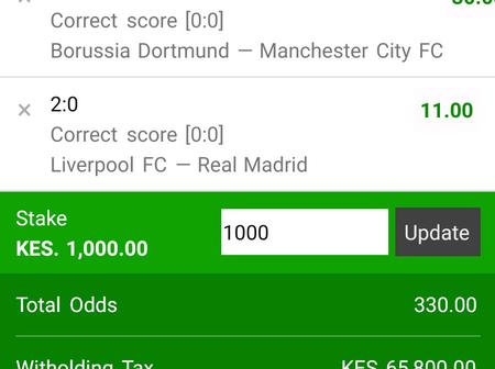 330-Odds In The Two Today's Champions League Matches Correct Scores.