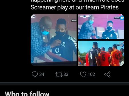 Orlando Pirates : Screamer Tshabalala seen giving orders from behind the scene.