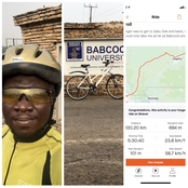 Nigerian man shares his regret after going to Babcock University from Lagos on a bicycle (Photos)