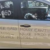 After his divorce settlement a man wrote something on his car that raised many eyebrows, is he fair?