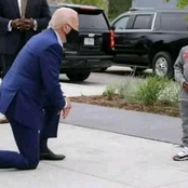 US President Joe Biden Kneels Infront of This George Floyd's Boy