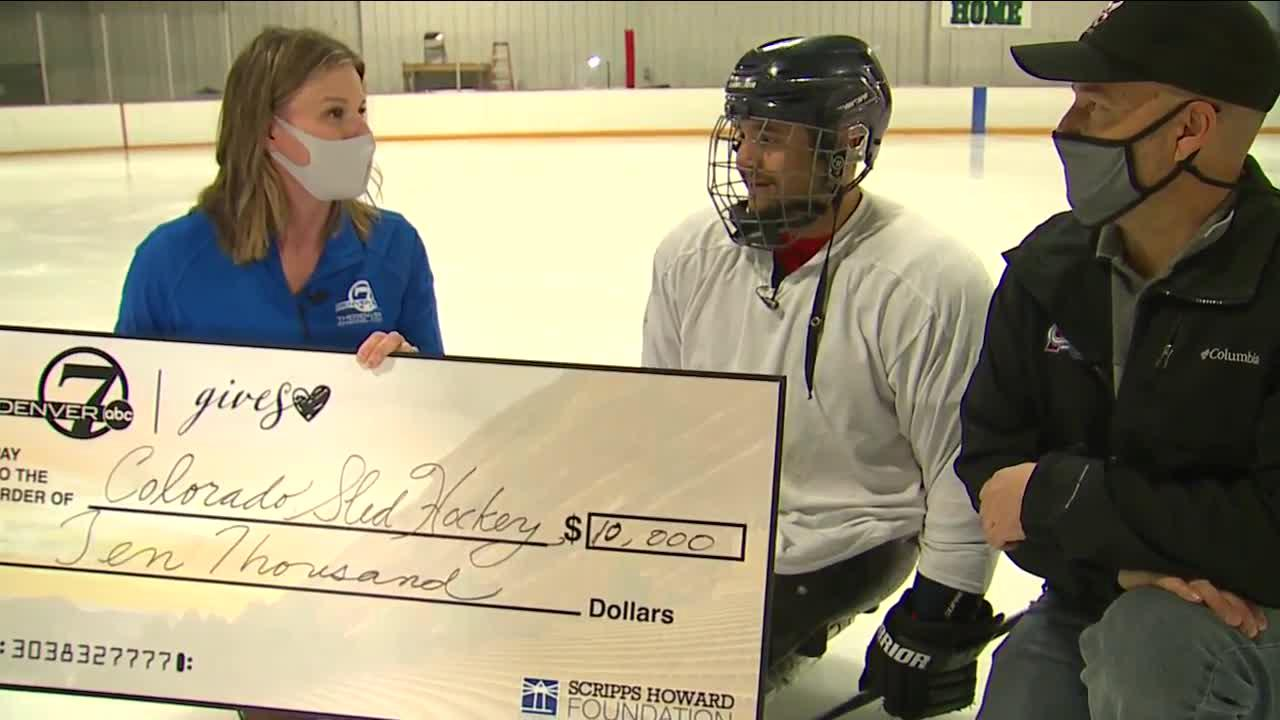 Denver7 Gives donates $10,000 to replace stolen adaptive hockey gear, trailer