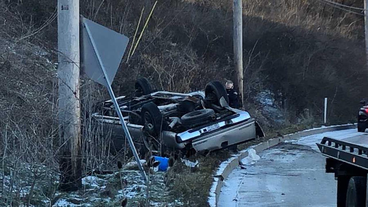 Vehicle flips onto roof in Wilkinsburg