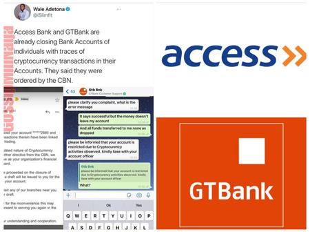 Access Bank And GTBank Allegedly Closes Bank Accounts Of Individuals With Traces Of BTC Transactions