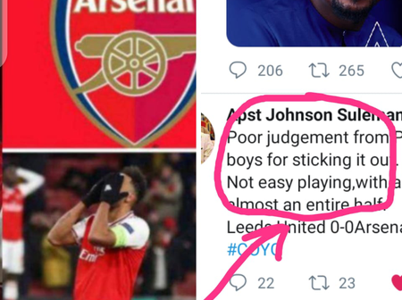 Omega Fire Ministries General Overseer, Apostle Suleman Reacts As Leeds Drew With Arsenal In EPL