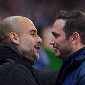 Pep Guardiola reacts to Frank Lampard's Chelsea dismissal