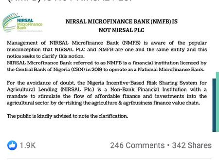 Clarification On The CBN Suspension Of NIRSAL