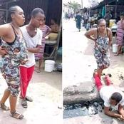 See What This Man Did For His Pregnant Wife To Cross A Drainage That Has Got People Talking