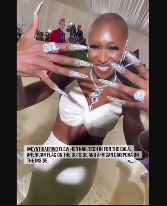 British-Nigerian actress, Cynthia Erivo reveals she flew her nail tech to perfect her striking looks for 2021 Met Gala (photos)