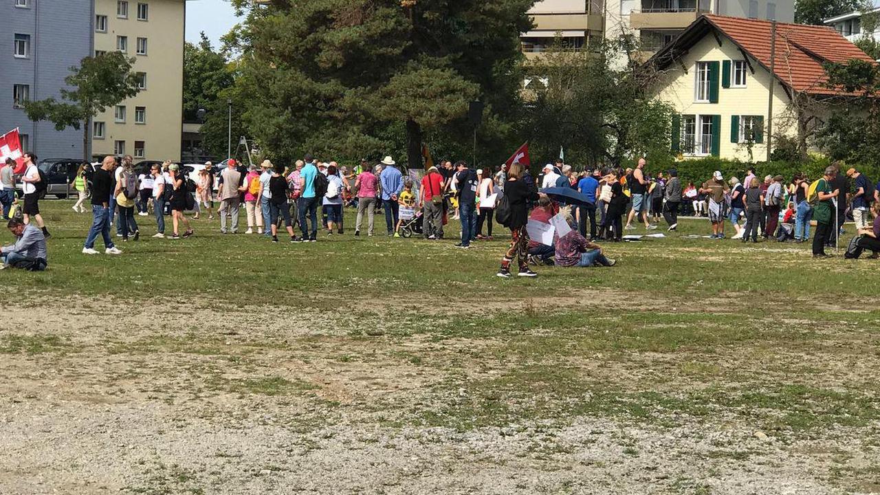 Corona-Proteste - Massnahmenkritiker demonstrieren in Uster