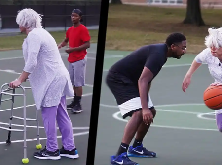 Grandma  Spotted Playing Basketball With Amazing Skill At A Park