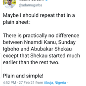 There Is Practically No Difference Between Shekau, Nnamdi Kalu And Sunday Igboho - Adamu Garba
