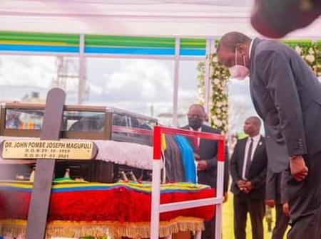 Heartwarming Photos Of Uhuru Bowing At Magufuli's Body Emerge