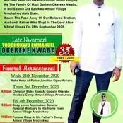 Late Nwamazi Toochukwu Emmanuel Okereke Nwaba gets to Rest.