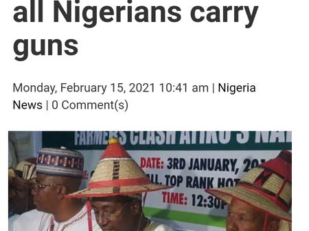 Miyetti Allah Has Asked Government to Allow Nigerians to Bear Arms