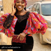 Stylish Ankara gown with puff and flare sleeve just for you