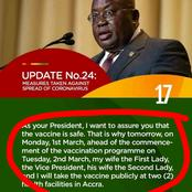 Summary: Akufo Addo Proves Loyalty By Being The First To Take The Covid-19 Vaccine Publicly