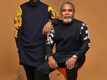 Top Fashion Designer Features Veteran Nollywood Actor and Son In New Senator Collections (Photos)