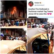 Fire Outbreak At The Techiman Market Puts Lots Of Market Women On The Streets, Fans React