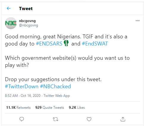 """Hacktivist"" group, Anonymous hacks National Broadcasting Commission?s Twitter account in support of #EndSARS campaign"