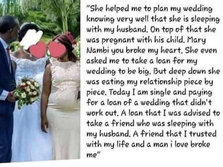 Lady Narrates How Her Best Friend Who Helped Her Plan Her Wedding Got Pregnant For Her Husband