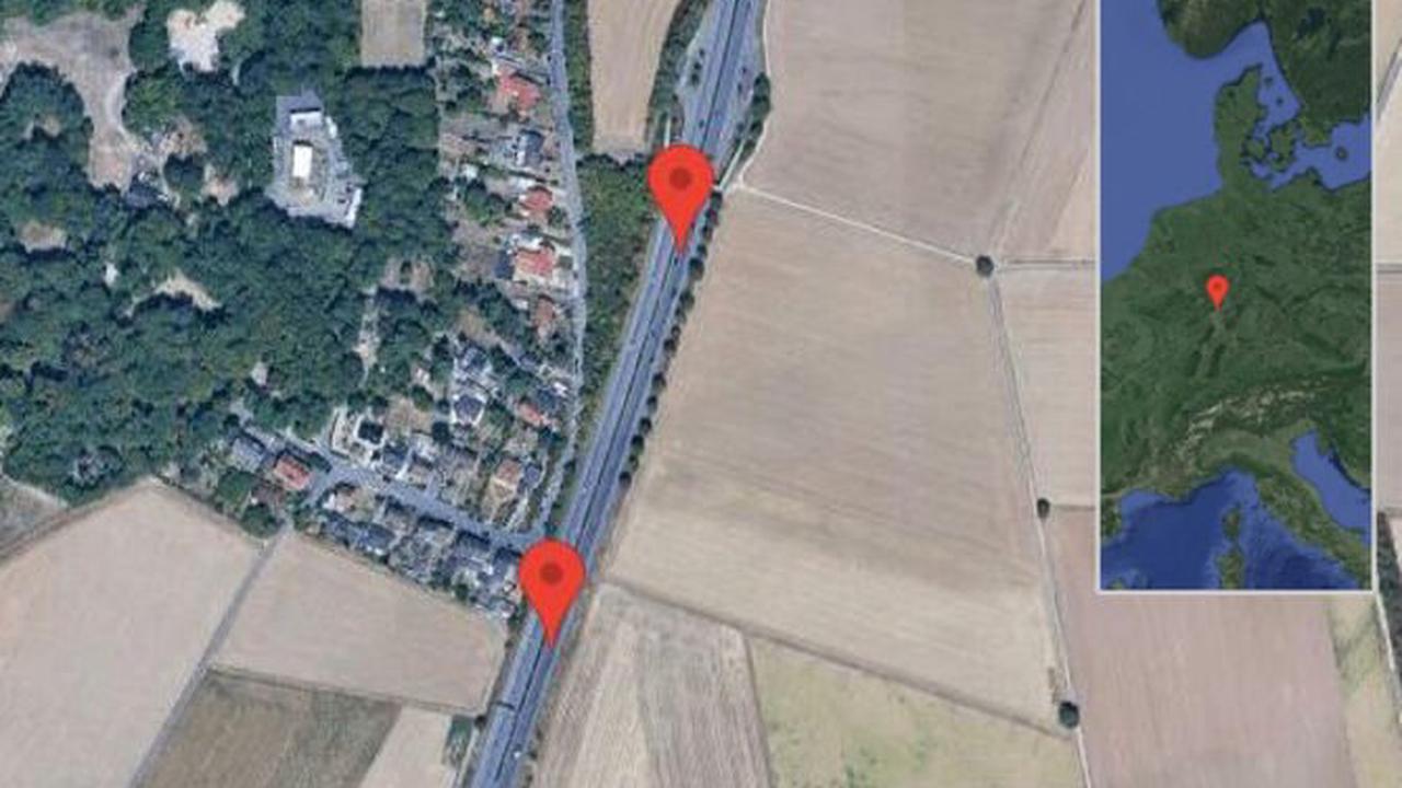 Wiesbaden: Glatt auf Boelckestraße zwischen Mainz-Kastel und Wiesbaden-Erbenheim in Richtung Königstein