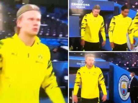 Last night, Erling Haaland made a point of walking around Manchester City's badge