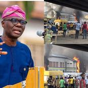 Read what the Governor of Lagos State said after posting these pictures of burning Police Station