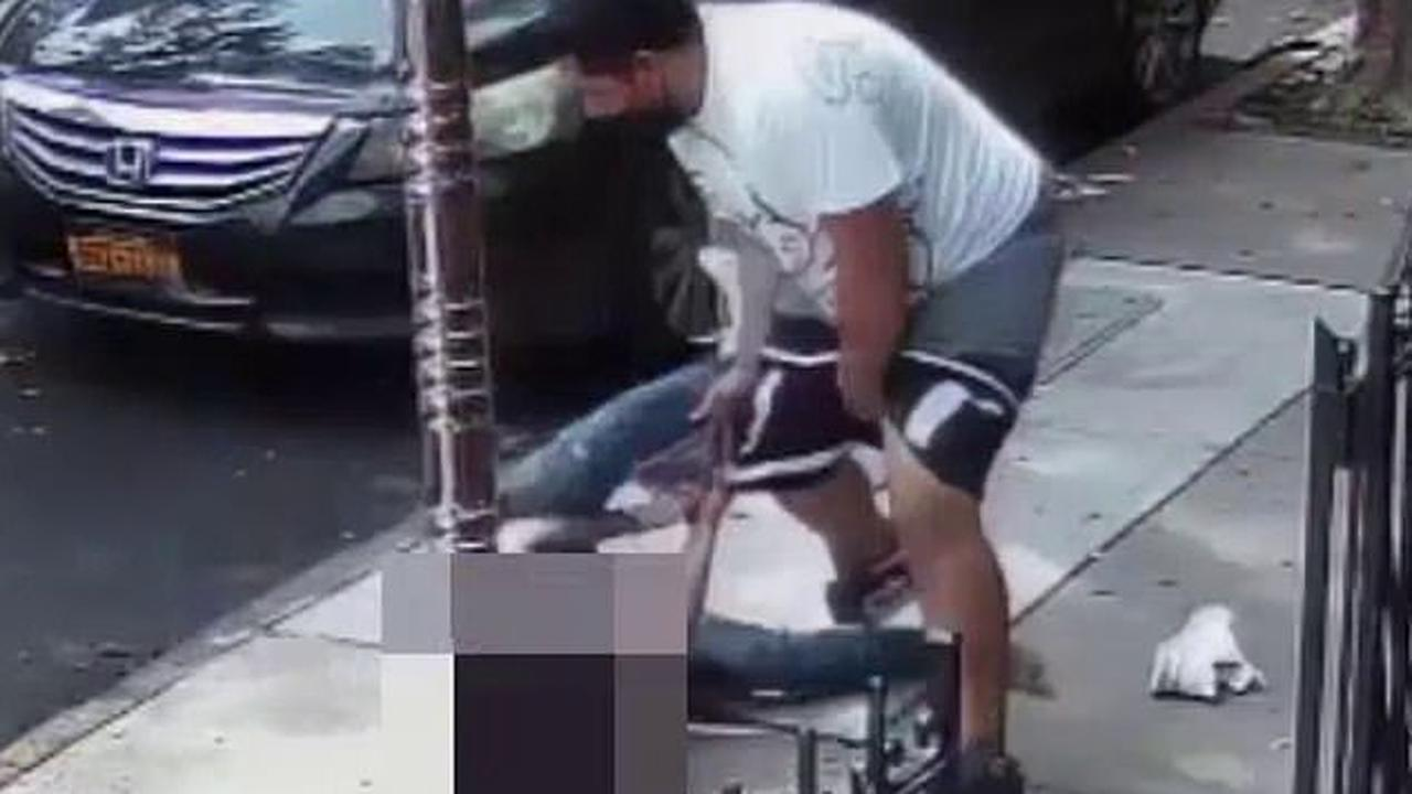 Caught with his pants down! Moment thief loses his shorts in failed attempt to rob a passerby in broad daylight on Brooklyn street amid Big Apple's brazen crime surge