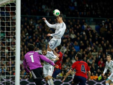 Check out photos of Cristiano Ronaldo's high jumps in the field