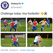 Photos: Pulisic, Hudson-Odoi Chilwell, others train with Miniature ball ahead clash with Man Utd.