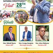 Front Leaders to Host Ruto Ahead of Tomorrow Visit to Muranga