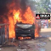Drama as a Matatu Explodes And Burns To Ashes With Residents Watching Helplessly In Kakamega