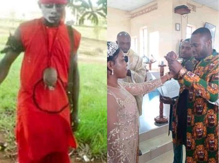 Alleged Native Doctor Goes To Church To Marry The Love Of His Life.