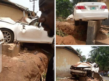 Isn't An Aeroplane, See The Car Accident That Happened In Anambra State That Got People Wondering