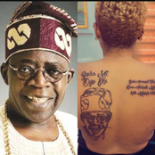 Reactions as lady tattoos Bola Tinubu 's face, name and date of birth on her back [Photos]