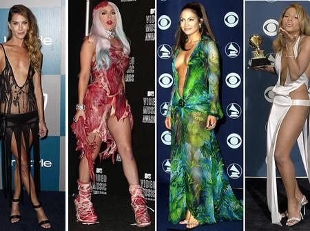 Scandalous dresses worn by celebrities on red carpet.