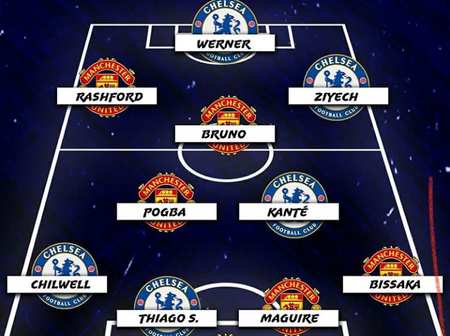 Ziyech In, Havertz Out, Check Out The Combined Eleven Of Chelsea And Man. United's Best Players.