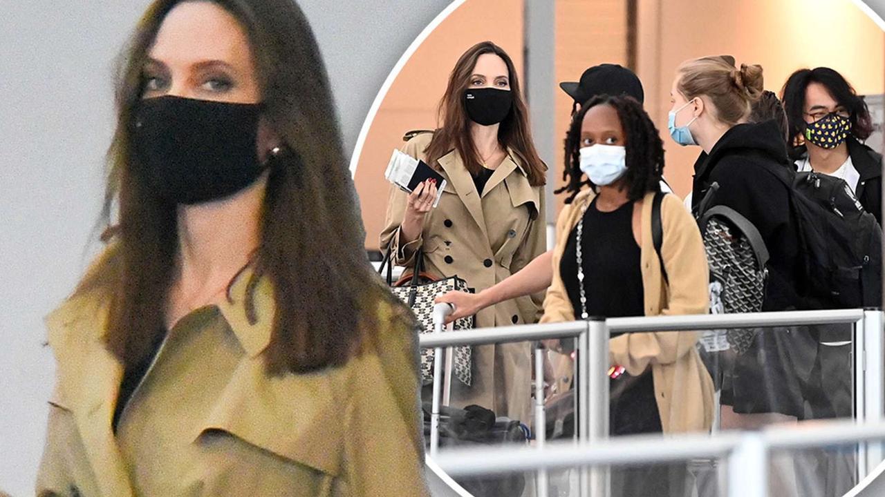 Angelina Jolie brings her entire brood to JFK Airport on birthday trip
