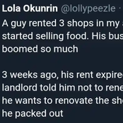 """The Landlord will pack up soon,"" Reactions as Greedy Landlord Eject Food Vendor, to Sell Same Food."