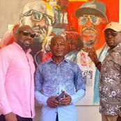 Yodé et Siro reçoivent un tableau des mains de l'artiste peintre Justin Oussou, appréciez vous-mêmes