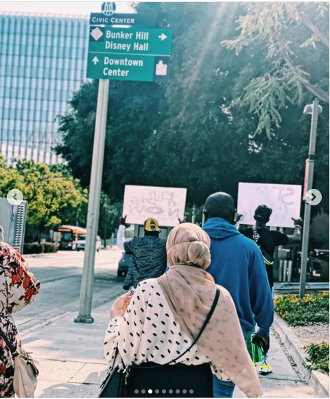 Rapper, Yung6ix leads #EndSARS protest in Los Angeles, US (photos)
