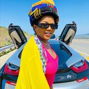 Busiswa left fans speechless with her recent beautiful pictures, standing next to an expensive car