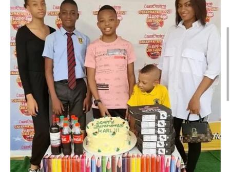 Yul Edochie Celebrates His Son's 13th Birthday, Shares Lovely Family Photo