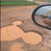 Reactions As A Man Saw A Pot Hole That Looks Like Mickey Mouse On A Road In Lagos
