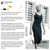 I Dressed this way to an office and a man said I was dressed indecently and should go back home to change -Lady