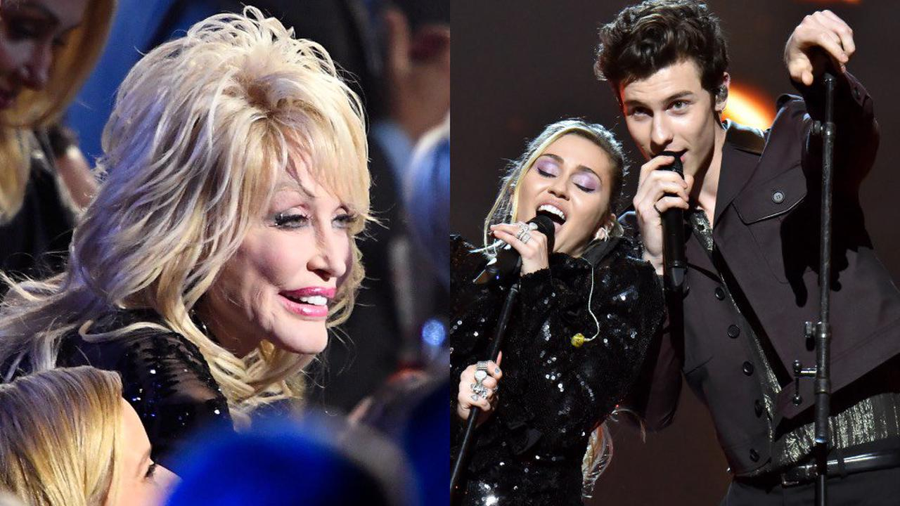 Miley Cyrus and Shawn Mendes give touching musical tribute to Dolly Parton