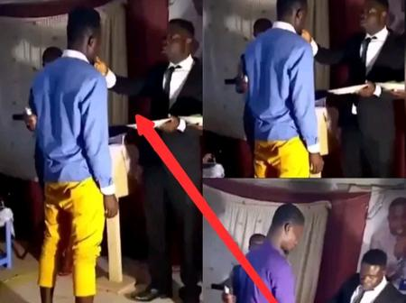 Endtime: See What Pastor Was Spotted Putting In The Mouth Of His Church Members In Broad Daylight