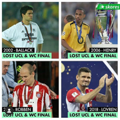 Four players who have lost the Uefa champions league and World Cup final