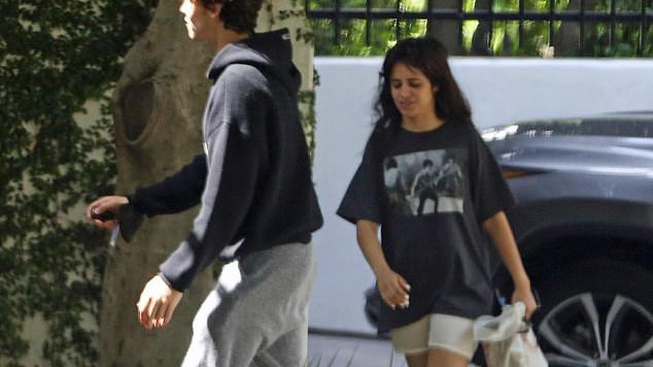 Shawn Mendes is casual in hoodie and sweats as he runs errands with Camila Cabello in LA